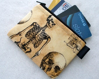 Skeleton Bones Halloween Fabric Credit Card Case Zipper Coin Purse Wallet Business Card Holder Skulls Anatomy Tea Stained Black