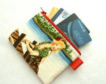 Fishing Great Outdoors Pin-Up Girl Fabric Womens Business Card Case Coin Purse Fabric Zippered Credit Card Holder Wallet Alexander Henry