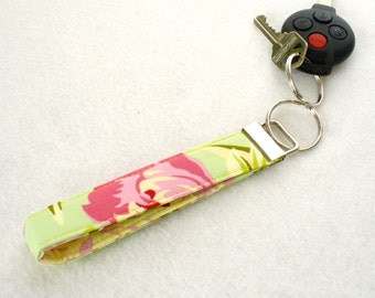 Amy Butler Floral Wristlet Fabric Key Fob Keyring Keychain Temple Flowers Pink Blossoms on Mint Green