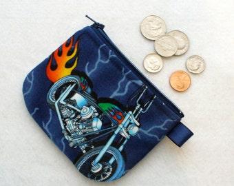 Flaming Motorbike Motorcycle Boys Coin Purse Zipper Change Purse Navy Chopper Bike Lightning MTO