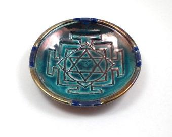YANTRA Offering Bowl Handmade Raku Pottery