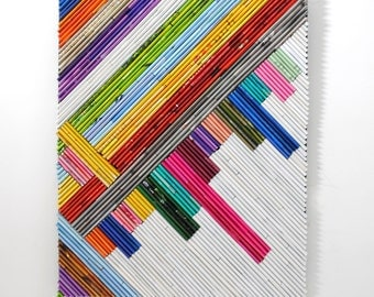 modern lines art - made from recycled magazines, pink, orange, teal, white, blue, red, diagonal, colorful, unique, gift, handmade
