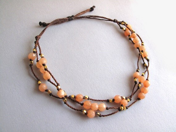 Peach / Coral Pink Bracelet: 3 Strand Knotted Cord with Tiny Nugget Beads in Silver or Gold (Adjustable Size)