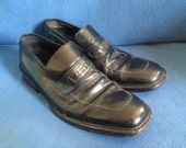 Vintage GUCCI, Men's Black Leather Loafers, Size 10.5, 10 1/2