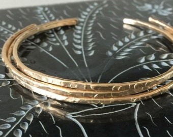 14k Skinny cuff Bracelet- Gold Skinny Cuff- Cuff Bracelet - minimalist Bangle - Champagne Collection