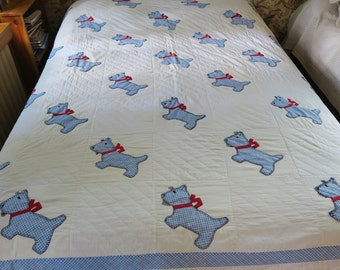 Antique applique quilt, SCOTTIE DOG quilt, 1930s - 40s quilt, homemade quilts, blue old quilt, animal bedcover, vintage applique blanket