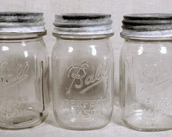 Vintage Glass Ball Jars * mason jars * glass containers * vintage glass