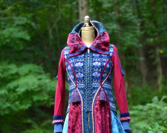 Patchwork boho Sweater COAT, fantasy art to wear refashioned clothing, up cycled one of a kind Eco-Couture.  Size Small. Ready to ship