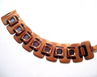 Renoir Link Bracelet, Vintage RENOIR Copper Enamel Modernist Link Bracelet, Vintage Copper Bracelet, Modernist Copper Jewellery
