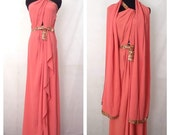 Vintage 1940s Coral Sequin Beaded One Shoulder Gown with Matching Wrap