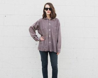 1950s lavender-grey Corduroy Workwear shirt S/M