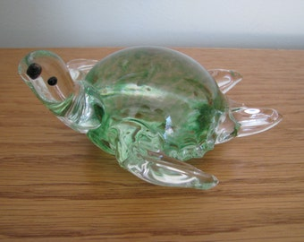 Vintage Lenox Glass Sea Turtle Paperweight Green Clear