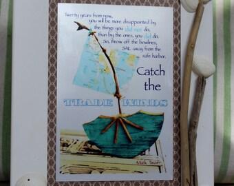 Sailboat Decor, Original Fine Art Photo 'Catch the Trade Winds' Boy Nursery Decor , Framed Driftwood Art