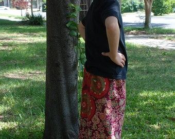 Kids Hippie pants-size 4- Burgundy flower Peacock -can be Capris or Jams on a 6 yrs.old-boys or Girls