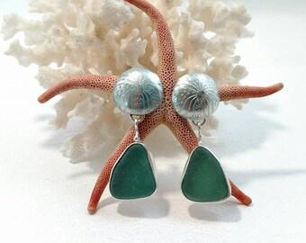 Teal Sea Glass SIlver Urchin Earrings