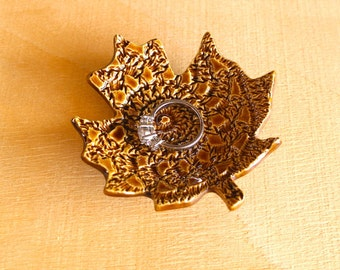 Ceramic MAPLE LEAF Ring Dish - Handmade Porcelain Crochet Doily Ring Dish - Wedding Ring Dish - Ready To Ship
