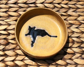 REDUCED - Ceramic Cat Food Water Bowl - Handmade Golden Brown Stoneware Bowl - Black Cat Silhouette - Ready To Ship