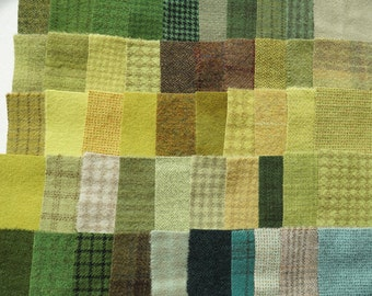 Green SALE Hand Dyed Felted Wool Scraps Bundle Number 1108 By Quilting Acres