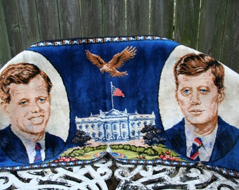 Vintage 1960s John F Kennedy and Robert Kennedy Wall Tapestry