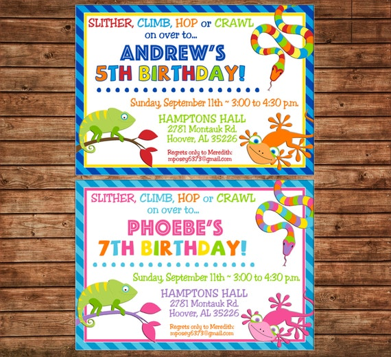 Boy or Girl Reptile Snake Frog Lizard Petting Zoo NO Photo Invitation Birthday Party Invitation - DIGITAL FILE