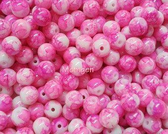 8mm Colored Glass Beads, Pink Beads, White Beads, 8mm Pink Round Mottle beads, mottle beads  - 20pcs