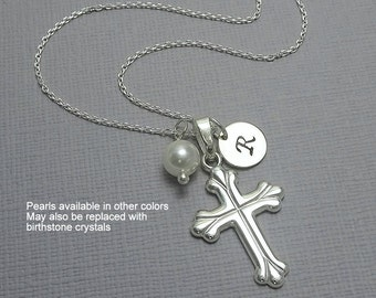 Baptism Gift, Personalized Cross Necklace, Sterling Silver Cross Necklace, Tiny Cross Necklace, Baptism Necklace, Confirmation Gift