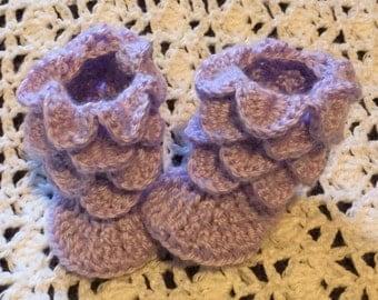 Lilac baby crocodile stitch boots