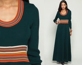 Empire Dress Striped 70s Long Maxi Empire Waist Green Long Sleeve Hippie Boho Knit 1970s Scoop Neck Vintage Orange Bohemian Small Medium
