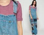 Patchwork Overalls Pants 90s Denim GRUNGE Dungarees Wide Leg BAGGY Plaid Patch Coveralls Long Jean 80s Vintage Carpenter extra large xl