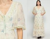 Gunne Sax Dress 70s Maxi Lace Up Corset RUFFLE Floral Prairie Bohemian 1970s Boho Hippie Tiered White Blue Print Vintage Small Medium