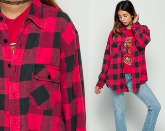 90s FLANNEL Shirt Red Buffalo Plaid Shirt Grunge Button Up 1990s Lumberjack 80s Vintage Hipster Checkered Long Sleeve Black Large