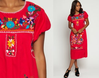 Mexican Embroidered Dress 80s Peacock BIRD Tunic Midi Boho Hippie Bohemian Puff Sleeve Red Cotton Vintage Ethnic Festival Small Medium