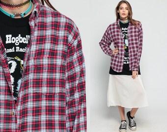 Grunge Plaid Shirt 90s Flannel Red White Oversized 1990s Long Sleeve Cotton Lumberjack Vintage Oversize Kurt Cobain Large