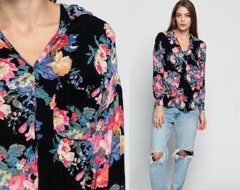 Grunge Blouse Black Floral Shirt 90s Button Up 80s Blouse FLOWER PRINT Long Sleeve Top Grunge Collar Blouse Boho 1980s Vintage Medium