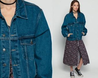80s Denim Jacket WRANGLER Vintage Jean Oversized Grunge Biker Dark Wash Button Up 1980s Hipster Collared Women Coat Small medium