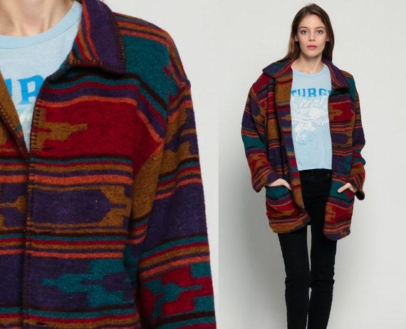 Blanket Coat Wool Tribal Jacket 80s Southwest Aztec Print