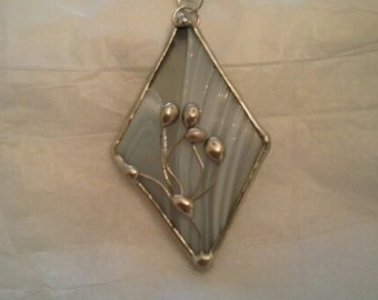 Stained Glass White Glass Diamond Pendant