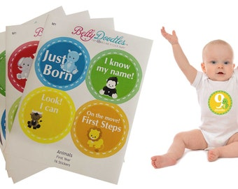 FLAWED 16 baby month stickers #M1 Safari Animals boy Just Born milestone age monthly