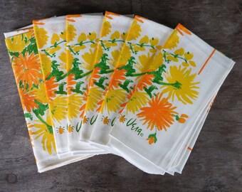 Six Vintage Vera Neumann Ladybug Orange & Yellow Flower Cotton Napkins - Unused