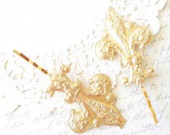 Golden Fleur De Lis Hair Pins - Gold Fleur De Lis Bobby Pins - Fleur De Lis Hair Accessories - French Hair - Paris Hair - Bridal Hair Pins