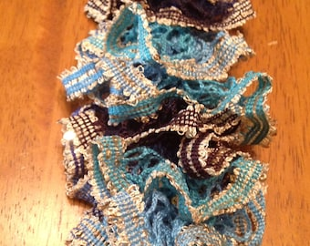 Ruffle Scarf in Blue multicolor Free Shipping!