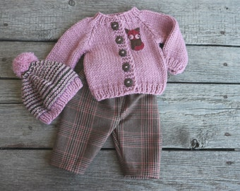 Waldorf Girl Doll Clothes - Trousers, Sweater & Hat, fit 15,16 inch dolls pink-brown-beige
