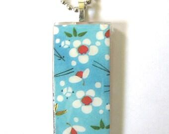 Blue Skies and Sakura. Glass Pendant Necklace. Handmade.