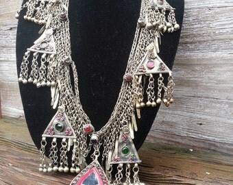 Tribal Belly Dance Jewel and Metal Fringe Belt, Necklace or Swag
