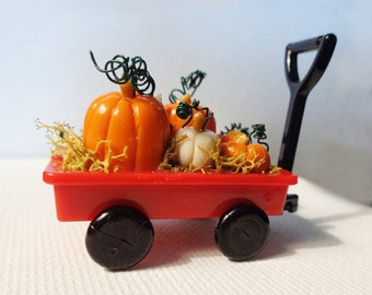1:12 Scale (Dollhouse) 12th Scale Halloween or Thanksgiving Orange & White Pumpkins in Little Red Wagon - Indoor Fairy Garden