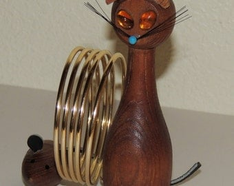 Teak Cat and Mouse Bill Holder made in Japan