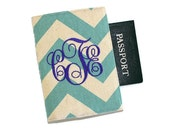 Chevrons Personalized Passport Cover with Velcro Closure - Your name or monogram, Choice of Cotton Fabric