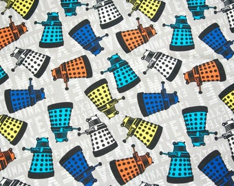 Doctor Who Tossed Daleks Quilting Cotton Fabric 3/4 yd