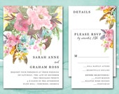 Wedding Invitation Printable, Printable Wedding Invitation, Wedding Invitation Template, Watercolor Floral Wedding Invitation Set Download