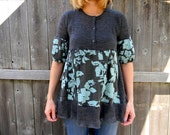 Upcycled Women Short Sleeve Top Tunic Loose Women Top Wearable Art Bohemian Clothing Women  Dress MEDIUM Gray / Turquoise Martinisq